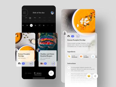Food App interface winner award drink recipes cooking chef cook dish food designer sketch design mobile ios ux ui