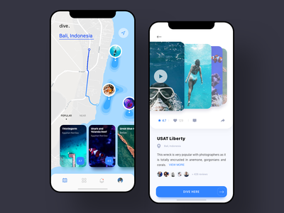 Diving App blue top place ocean sea water popular diving diver flat clean simple mobile ios iphone designer sketch design ui ux mobile ios ux ui