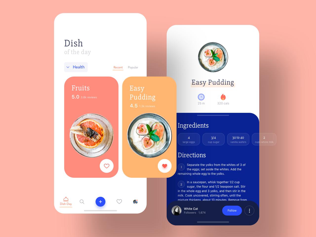 Food App health cards ui card ingredients concept sketch mobile interface ux ui summer fruits calories dish food app