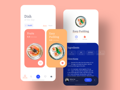 Food App health cards ui card ingredients concept sketch mobile interface ux ui summer fruits calories dish food app