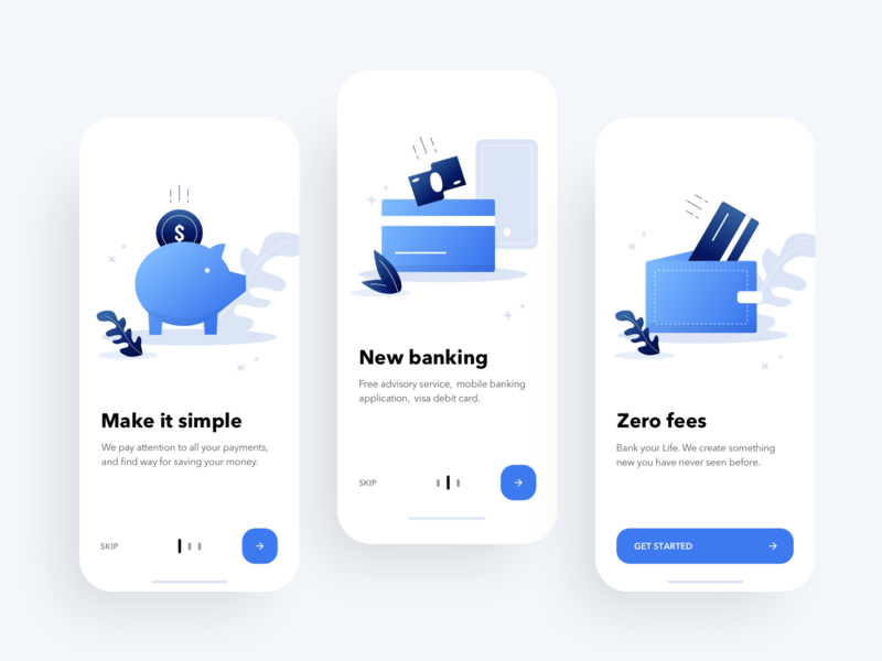 Onboarding Screens for Mobile Banking budget expenses finance fintech money spending transactions transaction pay payment bills wallet onboarding bank bank app mobile app rondesign