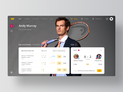 Sport Live - Betting Platform lms bot match casino live bookmakers betting bet tennis sport rondesign