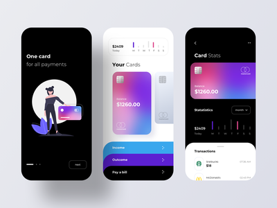 Credit Cards in the Mobile Banking visa mastercard revolt business account pay finance fintech wallet app wallet transactions payment app payment money money app credit card bank mobile banking rondesign