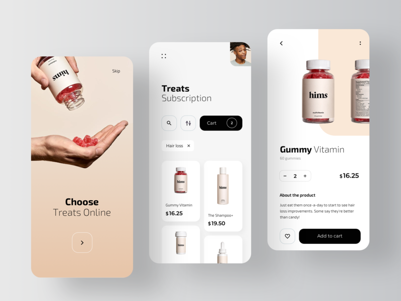 Hims - Pharmacy Mobile Application service medical pharmaceutical online shop healthcare health drugstore pharmacy online medecine app ecommerce pharma rondesign