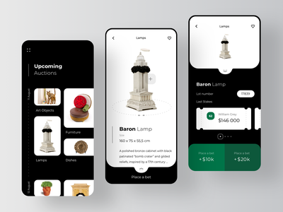 Antique Auction Betting Application buy bid bids product page auctions ecommerce ticket profile page betting bet bets lots augmented reality app auction rondesign