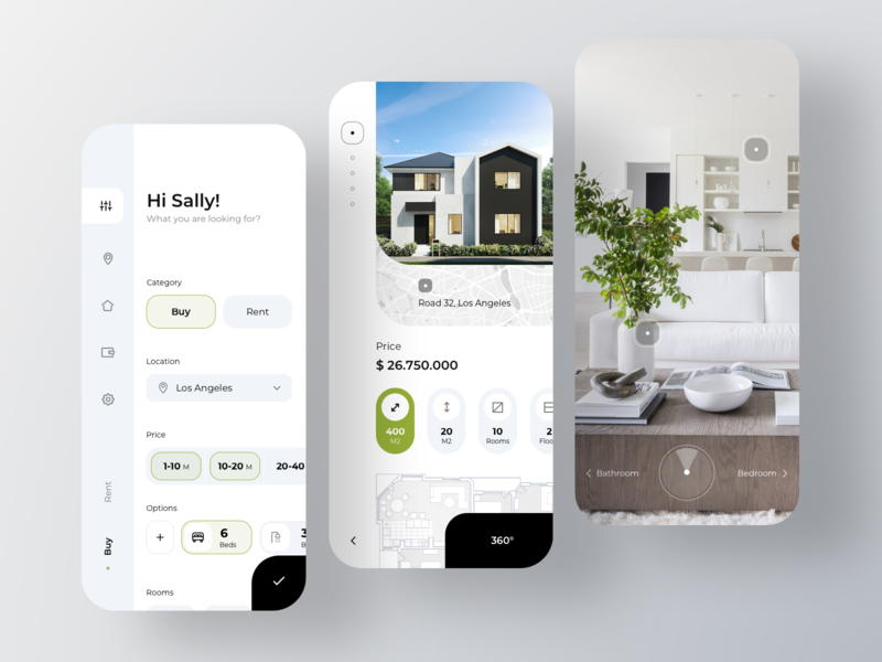 Real Estate Appliation location filter rent property house room real estate map listing branding book appartments booking app real estate rondesign