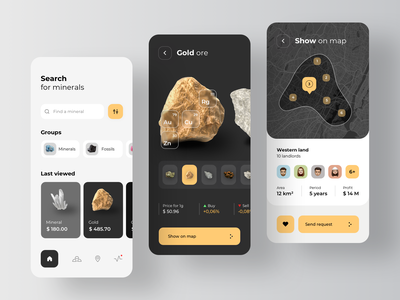 Minerals and natural resources application ui resources minerals gold illustration design app rondesign
