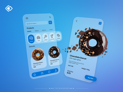 Glassmorphism UI Concept vector illustration cross platform react flutter iphone ios android minimalistic minimalism minimal clean ui donuts cafe food delivery app food delivery food app glassmorphic glassmorphism glass ui