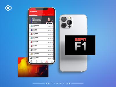 Formula 1 Racing red blue games news sports ui sports f1 racing racing f1 espn typography logo design illustration clean ui vector ui ux graphics branding