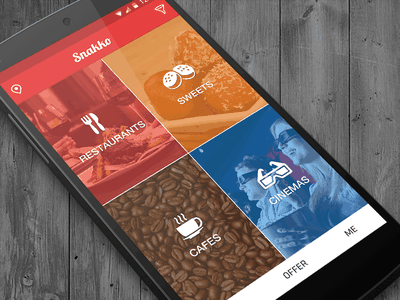 Snakko : Android Home UI cinema cafe sweets restaurants ux ui lollipop android