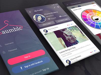 Saumble Dribbble profile color pick menu listing events branding iphone splash app ux ui