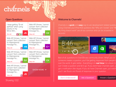 Channels Chat/Quesitionaire windows 8 chat stack overflow