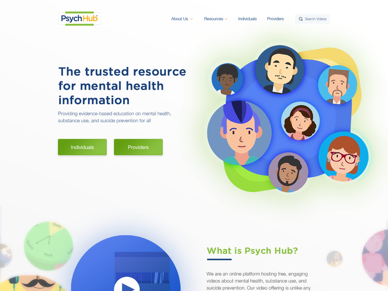 PsychHub homepage design health illustration cta hero banner