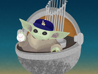 May the Fourth Be With You graphic design design illustrator vector illustration trophy baseball world series champion 2020 world series 2020 world series champions world series dodgers baby yoda mandalorian grogu star wars art star wars day star wars starwars