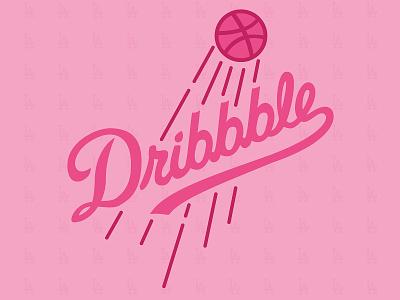 Hello Dribbble World! script font typogaphy design baseball pink chris sequeira thank you first post dodgers dribbble first dribbble shot first dribbble first shot firstshot