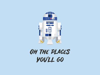 Oh the Places You'll Go gouache shader shader gouache adam grason vector illustration vector r2d2 r2-d2 starwars star wars