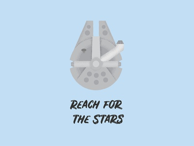 Reach for the Stars vector illustration gouache shader vector shader gouache adam grason star wars starwars stars han solo falcon millennium falcon