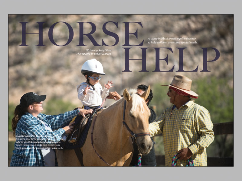 Horizons - Horse Help Spread team teamhorizons magazine layout photography