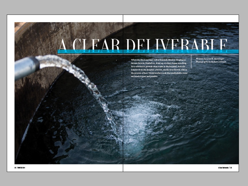 Horizons 9.4 Spread - Water team horizons magazine layout clean water