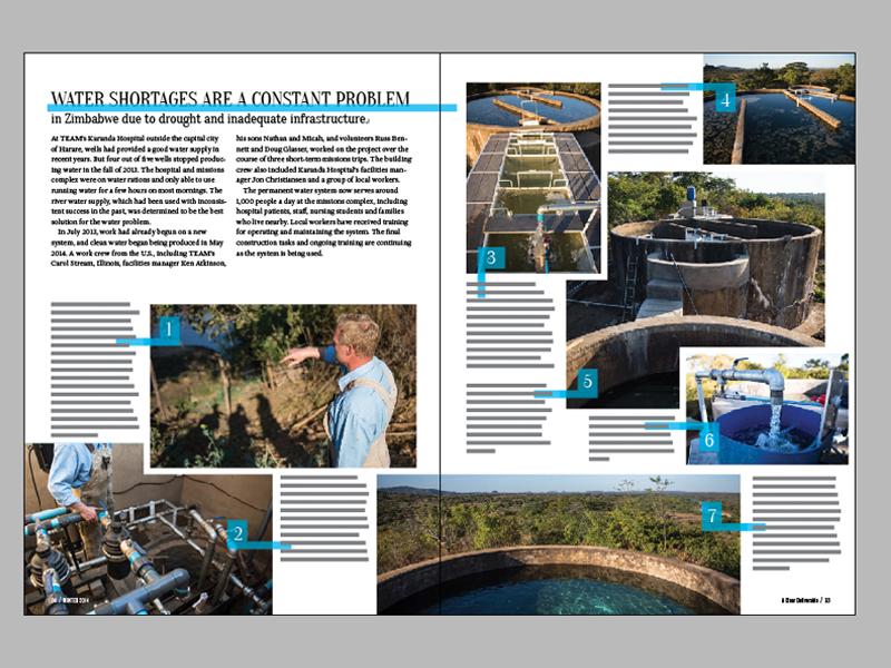 Horizons 9.4 Spread - Water - Inside team horizons magazine layout clean water