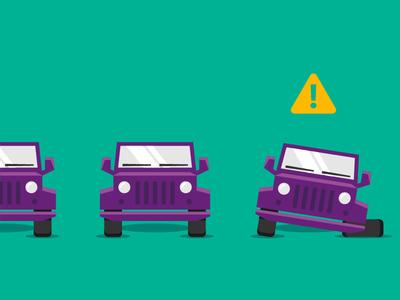 Assembly Line Alert assembly line car tire jeep alert tech flat color vector illustration