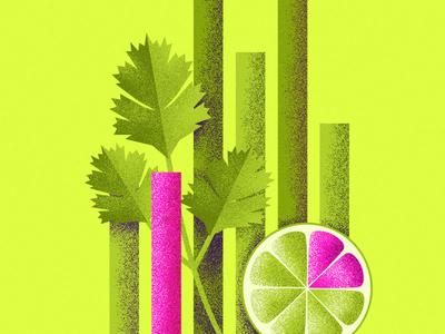 Cilantro, Lime & Data cilantro lime data food taco bell texture flat color vector illustration