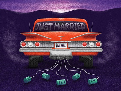 Just Married cans marriage car food taco bell texture flat color vector illustration