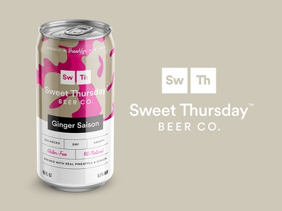 ST Beer Brand Concept ginger clean minimal icon can illustration typography logo branding beer packaging