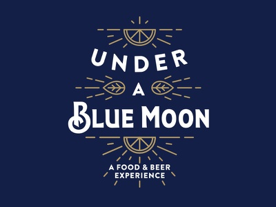 Under A Blue Moon branding oranges typography type experiential beer line icon logo