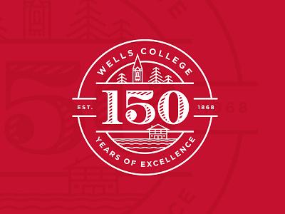 Wells College 150th Anniversary Logo circle badge typography university college minimal illustration brand identity branding logo
