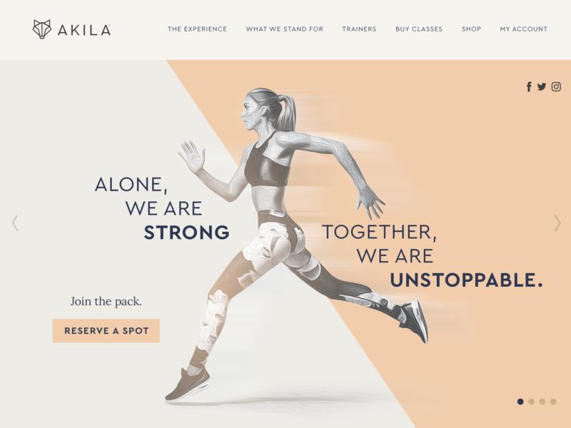 Akila homepage slider branding digital typography photoshop logo ux ui design
