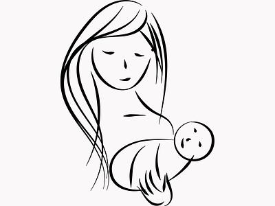 Mother sketch typography vector logo branding illustration icon graphic design design