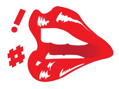 Lips design flat skeuomorphic ! red teeth lips