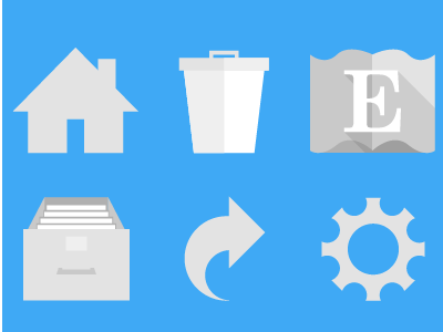 Mobile Iconography fibonacci settings share archive delete trash home iconography