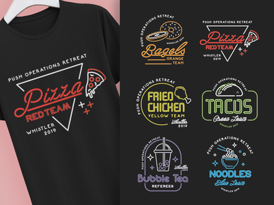 Food Neon Sign Shirts illustration tees t shirts tshirt team shirt food illustration food and drink noodles bubble tea fried chicken tacos pizza bagels neon neon sign shirt design shirts shirt foodie food