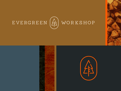 Evergreen Workshop Logo trees tree branding logo hat tools workshop woodshop logo design logos wood texture evergreen carpenter carpentry wood