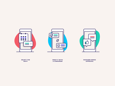 Shift Swap Feature Illustration design icons managers feature illustration feature product illustration manager schedule time clock illustration employee
