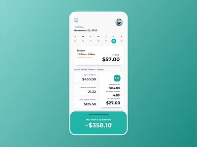 Restaurant Tip Pool App Concept app design app designer app payroll employee design ui