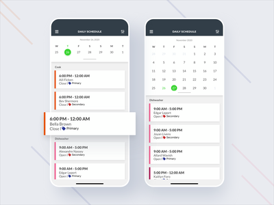 Daily Shift Schedule for Managers ui push app app design schedule time clock payroll