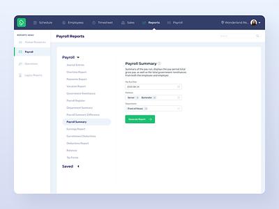 Report Generator UI ui design schedule time clock employee payroll