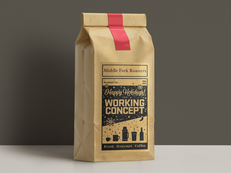 Kraft paper coffee labels coffee bag label typography print holiday illustration design