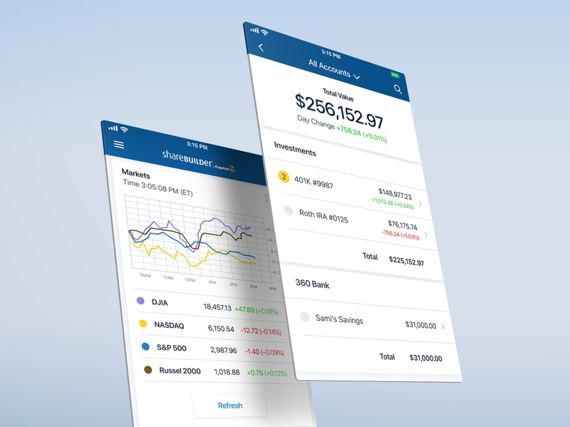 Investment views design finance account investing mobile app product design ui