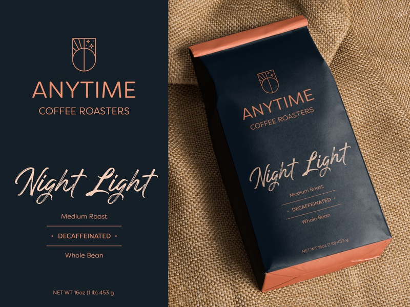 Decaf Anytime dribbbleweeklywarmup concept packaging coffee brand design