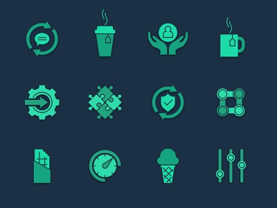 Company and culture icons concept shield chocolate bar hands dial ice cream puzzle coffee green vector company culture design icon