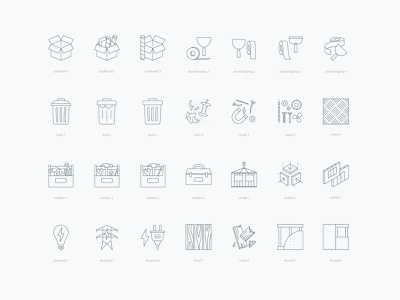 Icon variations vector process concept prefab wood metal cardboard trash toolbox drywall monoline construction icons