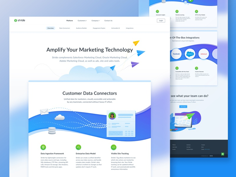 Platform features page illustration navigation ui web design
