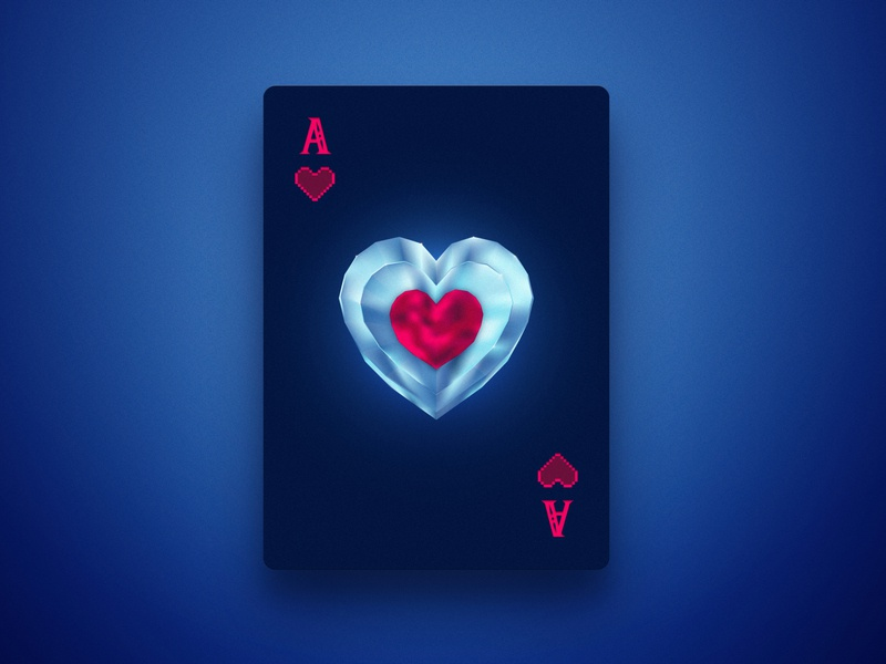 Ace of Hearts - OOT gem illustration heart zelda ace dribbbleweeklywarmup