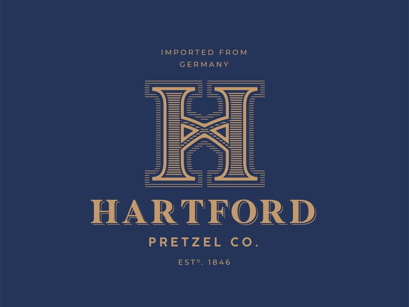 Hartford Pretzel Co. vector art illustration checker branding logo design estd. pretzel hartford illustrator logo
