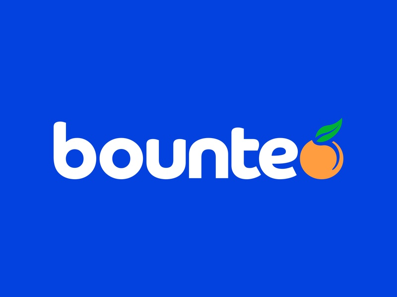 Bounteo color design branding design kiwi mockup vector illustrator logo design fruit produce oranges orange blue packaging exercise branding logo bounteo