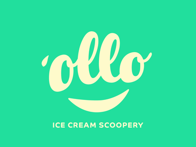 ollo ice cream cone scoop ice cream gradient yellow green ollo branding logo